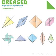 Creased: Origami website Basics Cover Page Origami Tower, Paper Folder, Crafty Kids, Cover Pages, Paper Dolls, Paper Crafts, Diagram, Japanese, Snacks