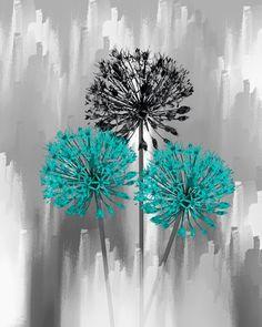 Teal Gray Modern Floral Artwork Photography/Teal Home Decor