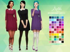 Aveira's Sims 4, Wednesday Dress 2 Versions, 66 Colors each HQ...