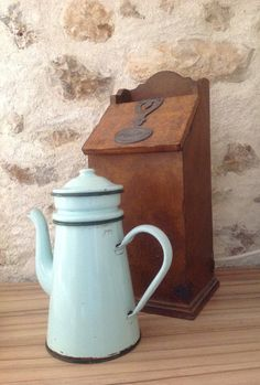 FREE SHIPPING..... Vintage French Enamel Coffee Pot. Ideal Rustic decoration  for a French Themed Kitchen. Light Grren with Dark Green Trim. by fleursenfrance. Explore more products on http://fleursenfrance.etsy.com