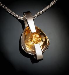 Argentium silver and citrine pendant designed by David Worcester for VerbenaPlaceJewelry.Etsy.com