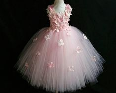 Light pink hydrangea flower tutu dress flower girl dress party dress aqua white ivory burgundy blue lavender yellow many colors available