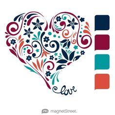 Navy, Burgundy, Teal, and Custom Orange Wedding Color Palette - free custom artwork created at MagnetStreet.com