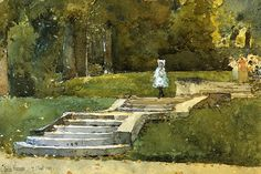 In the Park at St. Cloud,   Frederick Childe Hassam.  American Impressionist Painter (1859-1935)