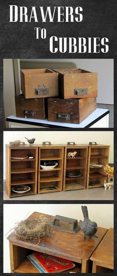 I Love cubbies! / Turn some thrifted drawers into a cubby - great DIY project to get that Restoration Hardware look Furniture Projects, Furniture Makeover, Wood Projects, Diy Furniture, Furniture Outlet, Old Drawers, Wooden Drawers, Dresser Drawers, Do It Yourself Furniture