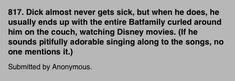 Dick and his disney movies again... #batfam #headcanons