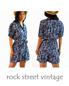 One Piece Short Rompers | 80s Womens ROMPER Shorts Vintage One Piece Romper Playsuit Blue Floral ...