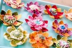 great felt flowers, sewn, multi layers, very clever