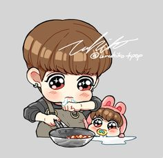 Hehe big Kookie cooking for little Kookie breaks the feels I have left in my little heart TuT