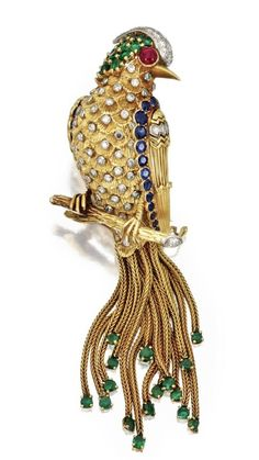 """18k Gold, Platinum , Coloured Stones and Diamonds Bird Brooch, MARCHAK, Paris. • The House of Marchak(Russian: МАРШАК) was founded by Joseph Abramovich Marchak, a young talented jeweler in 1878, inKiev, then inRussia. Considered one of the great competitors ofFabergéat the beginning of last century and sometimes called """"The Cartier of Kiev"""", the company employed 150 workers at the start of the Russian Revolution of 1917...(Wikipedia)"""