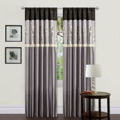 Triangle Home Fashions 19044-0 Lush Decor 84-Inch Cocoa Blossom Curtain, Gray/Black, Panels by Triangle Home Fashions. $36.44. Panel: 42-inch w by 84-inch d. Available in Blue/Brown, Gray/Black. Care; dry clean. Includes: 2 panels, 2 tiebacks. Faux silk with floral embroidery. 84-inch by 42-inch Panel. Tiebacks included. Rod pocket slides onto curtain rod for installation.