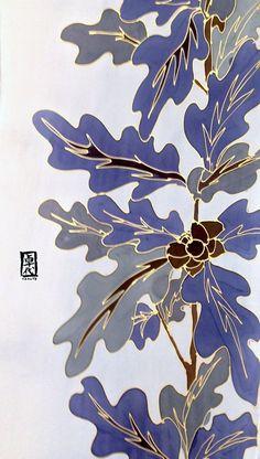 Silk Mens Scarf Hand Painted Gift Wrapped por SilkScarvesTakuyo: