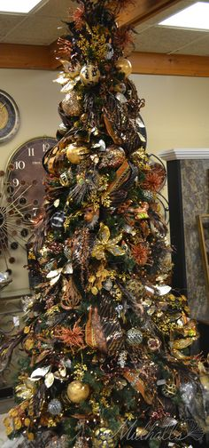 Safari Themed Christmas Tree - includes lion, elephant, and zebra ornaments and masks plus animal print ribbon and much more!