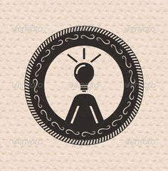 Vintage retro label  tag  badge : human ideas ,