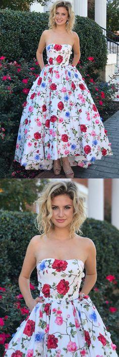 Gorgeous Strapless Floral Long Prom Dress Graduation Dress