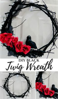 DIY Halloween Black Twig Wreath You are in the right place about diy face mask sewing pattern Here we offer you the most beautiful pictures about the diy surgical mask free pattern you are looking for. When you examine the DIY Halloween Black Twig Wreath Spooky Halloween, Porche Halloween, Halloween Noir, Halloween 2020, Holidays Halloween, Halloween Crafts, Vintage Halloween, Happy Halloween, Halloween Party