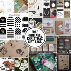 Black, white, kraft & chalkboard free printable Christmas gift tags! #freeprintables #christmastags
