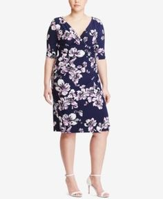 Lauren Ralph Lauren Plus Size Floral-Print Jersey Dress - Navy 18W