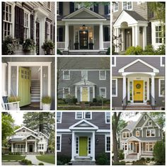 Gray Exterior Lime Door House Color Schemes Grey Paint