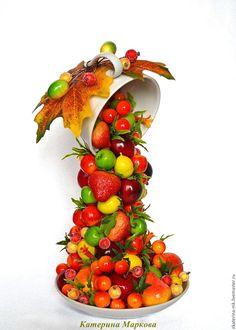 Купить Парящая чаша с фруктами - оранжевый, желтый, красный, зеленый, парящая чашка, парящая чаша