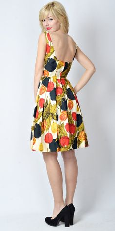 Vtg 50s 60s Vivid Floral Cocktail Party Dress by thekissingtree