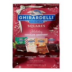 Ghirardelli Holiday Limited Edition Chocolate Squares Bag by World Market Ghirardelli Chocolate Squares, Chocolate Caramels, Mint Chocolate, Unicorn Foods, Peppermint Bark, Chicken Meal Prep, Candy Shop, Cake Designs, Alcoholic Drinks