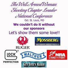 Welcome to Ruger, our newest sponsor for the upcoming National Chapter Leader Conference. This is our chance to 'love' on our AMAZING chapter leaders and we couldn't do it without the support of these companies. O.F. Mossberg & Sons, Inc.,Glock, Walther Arms, Inc., NRA-ILA FrontLines, Gun Tote'n Mamas Give them a like and tell them thank you as a Well Armed Woman!