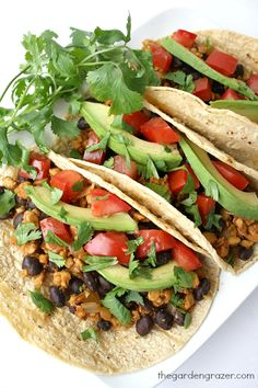 These easy, protein-packed vegan and gluten-free black bean tempeh tacos are a great weeknight meal, with about protein per taco! Vegan Mexican Recipes, Veggie Recipes, Whole Food Recipes, Cooking Recipes, Dinner Recipes, Vegan Foods, Vegan Vegetarian, Vegetarian Recipes, Healthy Recipes