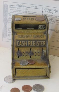 Antieke blikken kassa (spaarpot) U.S.A. J.Chein HAPPY DAYS