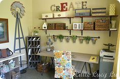 Cute work space. The shelves are from Ikea. I kind of like this idea for a craft/homework space (without the windmill) for @Penny Boston's Garage Makeover.