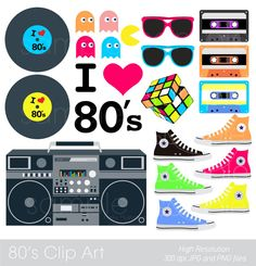 party Clip Art eighties fushion clipart by YelloWhaleDesigns Printable Invitations, Party Printables, Baby Shower Invitations, 80s Birthday Parties, 40th Birthday, Disco Party Decorations, Party Themes, Party Fiesta, 80s Theme