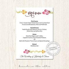 Wedding menu template editable printable wedding menu card dinner menu template design modern wedding ideas 5x7 DIGITAL download by HandsInTheAttic