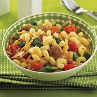 Cheesy Corkscrew Pasta packed with veggies and sausage