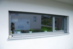 Gray window with external blinds from window manufacturer in Upper Austria Kitchen Window Blinds, Kitchen Window Coverings, Wooden Window Blinds, Grey Windows, Blinds For Windows, House Color Schemes, House Colors, Types Of Blinds, Window Manufacturers