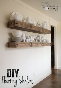 DIY Floating Shelf Plans for the Dining Room - Shanty 2 Chic Free Furniture Plans - Affordable DIY Wood Furniture Plans - Room, Shelves, Home Projects, Interior, Diy Furniture, Home Decor, Floating Shelves Diy, Home Diy, Kitchen Shelves