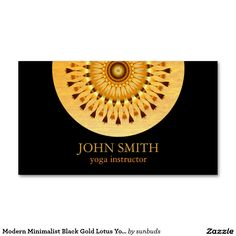 Modern Minimalist Black Gold Lotus Yoga Instructor Business Card