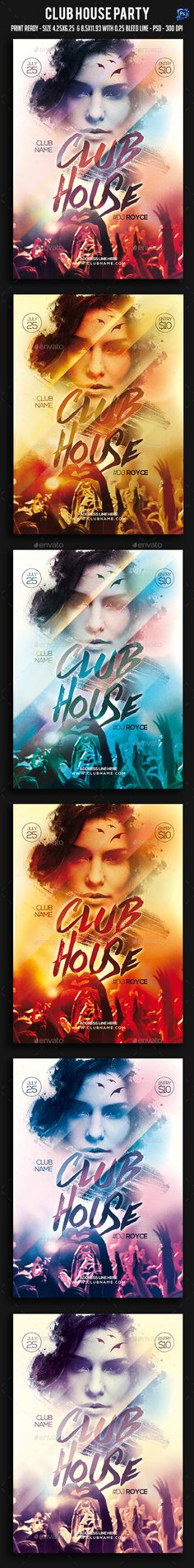 Club House Party Flyer Template PSD