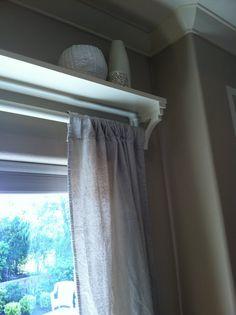 shelf for curtain rod- For my living room sliding glass door! Shelf Over Window, Window Shelves, Glass Shelves, Wall Shelves, Girl Curtains, Loft, Sliding Glass Door, Glass Doors, Sliding Doors