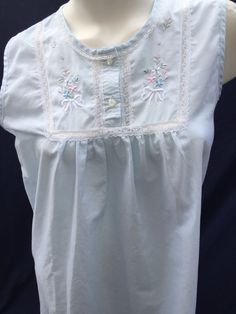 9efd0bd297 Vtg BARBIZON Blue Cotton Lace Embroidered Night Gown Dress Sz S Very Nice!
