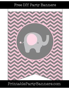 Pink and Grey Swallowtail Chevron Right Elephant