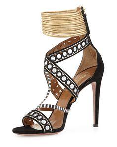 The Queen Suede Mirror-Strap Sandal, Black by Aquazzura at Bergdorf Goodman.