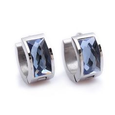Blue Crystal Silver Charm Stainless Steel Stud Hoop Mens Earrings
