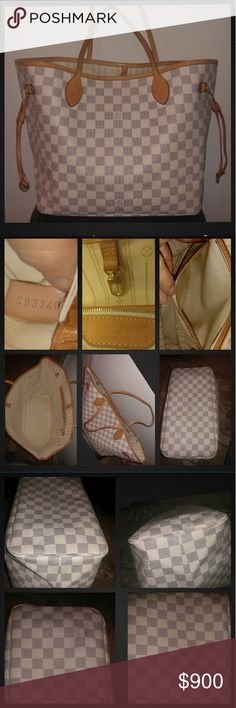 Auth Louis Vuitton Damier Azur Neverfull MM Auth Preloved Louis Vuitton Damier Azur Neverfull MM. Good preloved condition, NO rips/tears. Normal wear: leather patina, inside stray marks & signs of use, exterior canvas shows 2 boxes slight fading (pic) that the Damier Azur print commonly does. Overall good condition, but is a Preloved bag that shows signs of light wear interior & exterior. There's no damage, just signs of normal use. I have the matching agenda/wallet listed. Crosslisted PURSE…