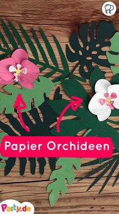 Papier Orchideen für die perfekte Hawaii Tischdeko! Aloha! Mehr Party Deko gibt es - auf Party.de // hawaii party deko, hawaii party deko kinder, hawaii geburtstag #hawaii