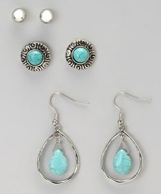 Look at this #zulilyfind! Turquoise Circle Stud & Teardrop Earring Set #zulilyfinds