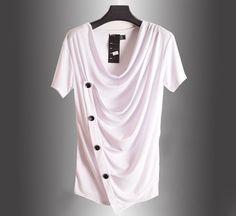 2017 Summer New Non Mainstream Bianfushan Short Sleeved V-neck T Shirt Men Brand Hip Hop Punk Rock T Shirt Slim Men Tshirt