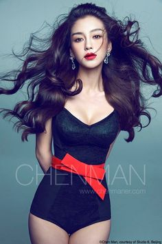 Angelababy by chenman. Stunning! ♥♥ #black #hair #red lipstick