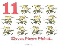 Caroling sheets for 12 Days of Christmas! Make a great songbook for preschoolers. eleven pipers piping wall card