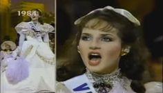 Un Singular Traje de Dama Antañona, Confeccionado para Miss Venezuela Carmen María Montiel, en Ocasión de Representar al País, en el Miss Uinverse 1984 celebrado en la Ciudad de Miami - USA..