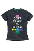 Grey Space Invaders T-Shirt (3-16yrs)